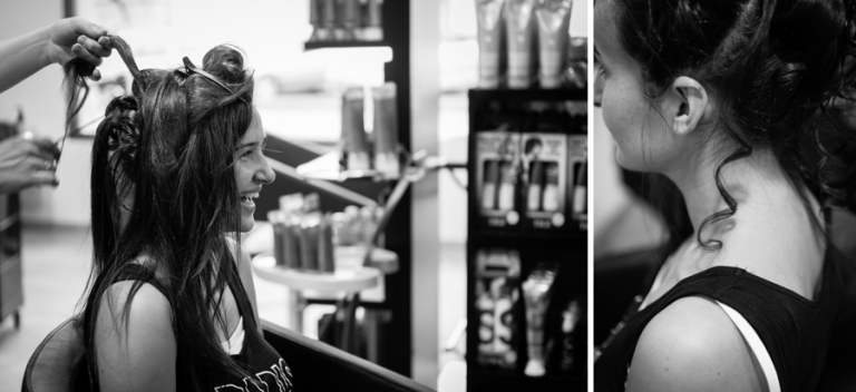 préparatifs coiffure Mariée